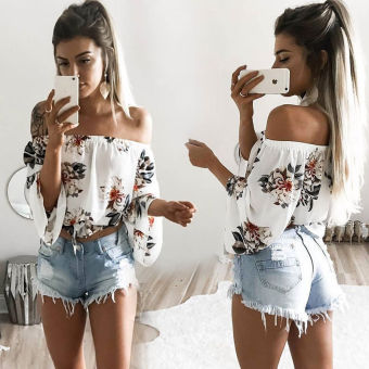 sexy hot selling horizontal neck off-the-shoulder printed Top
