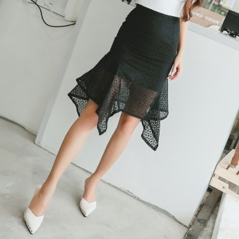 Sexy porous high-waisted Slim fit half-length skirt