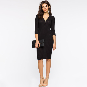 Sexy three-quarter-length sleeve mid-length autumn skirt Slim fit package hip dress (Black)