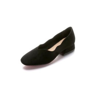 Shallow mouth flat to help low suede grandmother shoes Shoes squarehead (Black) (Black)