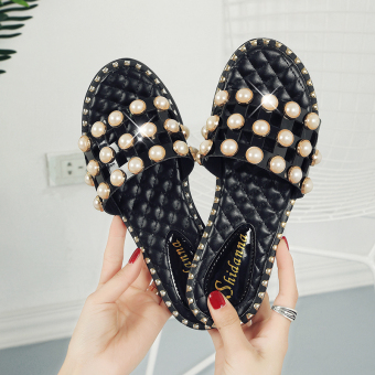 Shishang female outerwear flat heel sandals slippers (Black G5)