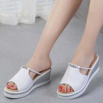 Shishang female outerwear New style sandals and slippers shoes slippers (White)
