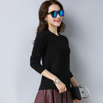 Shishang solid color slimming base shirt LOOESN knitted shirt (Black)