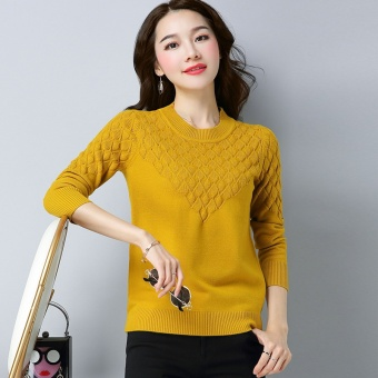 Shishang solid color slimming base shirt LOOESN knitted shirt (Ginger yellow)