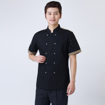 Harga Short sleeved hotel Western PARK'S restaurant chef clothes chef clothing (Black)