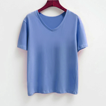 Simple cotton New style Loose and plus-sized short-sleeved V-neck T-shirt