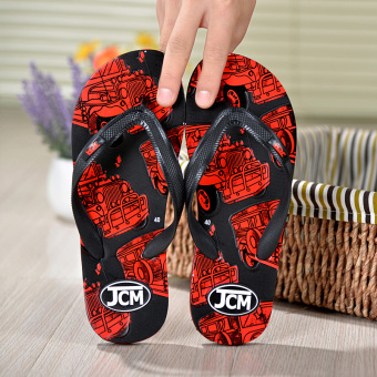 Slippers Men flip flops drag summer outdoor tide drag beach shoes non-slip wear and home bathroom shower sandals and slippers (902 red)