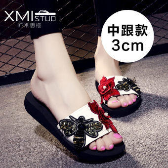 Small bee summer thick bottomed muffin sandals (Women's + 7208W bee and flower semi-high heeled sandals white)