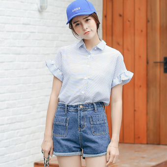 Small Fresh Summer Student New style shirt (Blue)