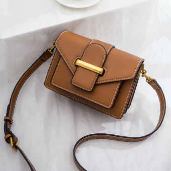 Small Square Korean-style New style lock bag women's bag mini small bag (Brown)