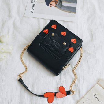 Small Square Korean-style spring and summer New style contrasting color casual shoulder bag women's bag (Black) (Black)