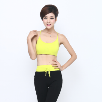 Harga Sports modal shock-resistant dance fitness versatile boob tube top female vest (Lemon yellow) (Lemon yellow)