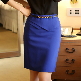 Spring and Autumn New style half-length skirt (Blue)