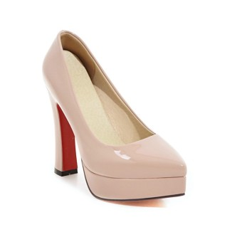 Spring and Autumn waterproof Taiwan bridesmaid pointed commuterpatent leather high-heeled shoes (Pink)