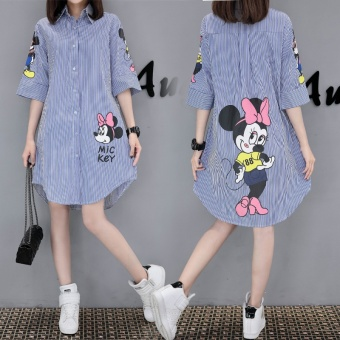 Spring and summer New style Korean-style Top shirt dress (Blue)
