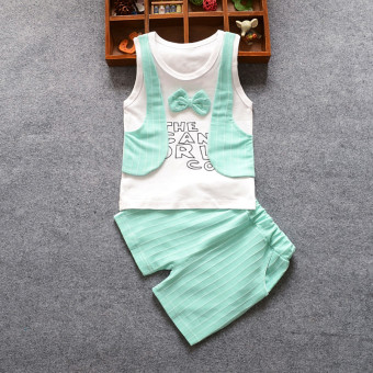 Harga Spring New style boy's short sleeved vest (Vest vest green)