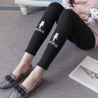 Spring New style high-waisted care belly stretch Slim fit pencil pants (Dark gray single side of the cat) (Dark gray single side of the cat)