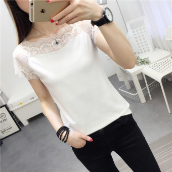 Stitching female short-sleeved lace collar Slim fit T-shirt shirt T-shirt (White)
