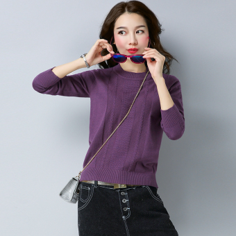 Striped twist underwear base shirt LOOESN knitted shirt (Violet)