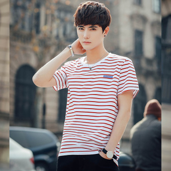 Stylish guy's cool summer men's short sleeved New style T-shirt (1731 pattern Hong)