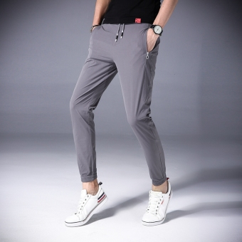 Stylish summer Slim fit ankle-length harem pants men pants (Gray)