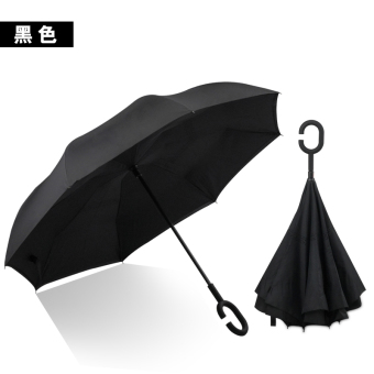 Suihua summer reverse repellent water Double Layer Cloth umbrella rain or shine umbrella (Black)