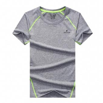 Summer New style outdoor short-sleeved quick-drying T-shirt men'ssports fitness clothing Short sleeve Slim fit quick-dryingcompassionate (Light gray color)
