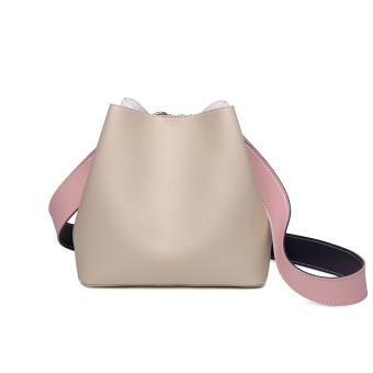 Summer small bag female 2017 New style tide Korean-style fashion wild hit color bucket bag simple messenger bag shoulder bag (Beige)