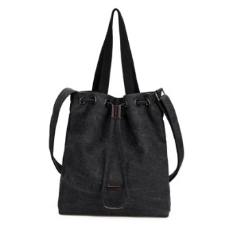 SUN Song Huiqiao celebrity inspired tote bag canvas women's bag (Black)