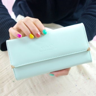 Sweet New style day Korean-style three fold hand bag Women's wallet (Lake blue)
