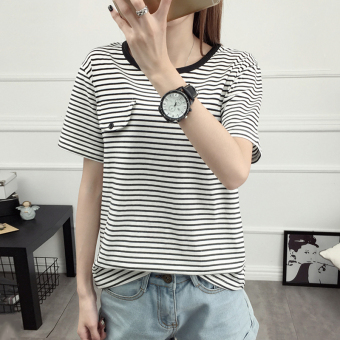 Teenager New style round neck striped Korean-style short-sleeved t-shirt (White)