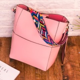 Trapeze Top Branded Shoulder Bag with Additional Solid Fancy Strap - Pink