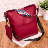 Trapeze Top Branded Shoulder Bag with Additional Solid Fancy Strap - Red