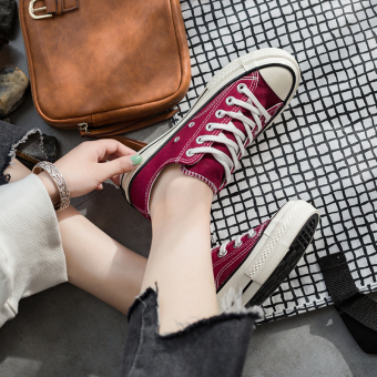 Ulzzang female 1970s students ginger yellow casual shoes (Wine red)