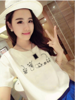 Ulzzang Korean white dress base shirt T-shirt (White [four kittens]) (White [four kittens])