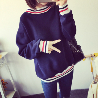 Ulzzang Plus velvet female pullover thick coat hoodie