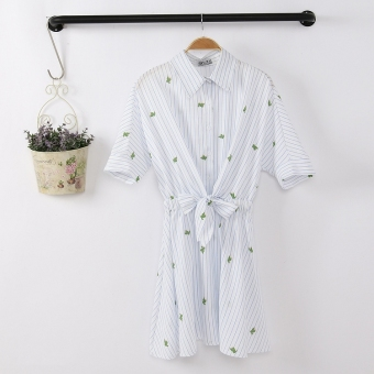 Ulzzang polo clothing home cactus Japanese-style dress (Light blue) (Light blue)