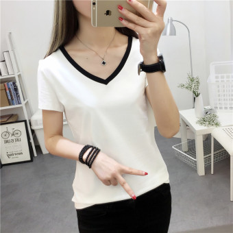 V-neck Slim fit short-sleeved bottoming shirt T-shirt (White) (White)