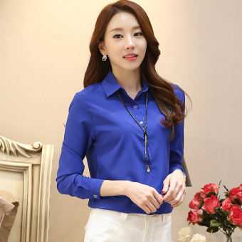 Versatile chiffon white slimming base shirt long-sleeved shirt (Dark blue) (Dark blue)
