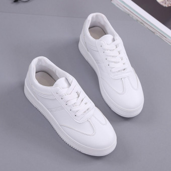 Versatile leather lace student white canvas shoes BayMini shoes (White)