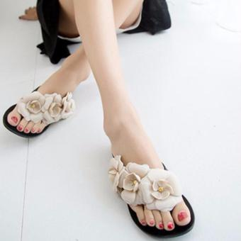 Victory Camellia Flat Sandals Summer jelly Women's Shoes(Black) - intl