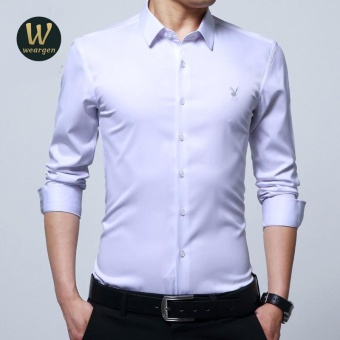 Harga Weargen Long Sleeve Slim Men Dress Shirt 2017 Brand New Fashion Designer High Quality Solid Male Clothing Fit Business Shirts SY-170136B-White - intl