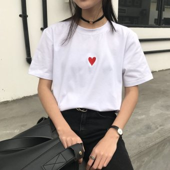 White solid color short-sleeved t-shirt female Korean-style loose love embroidery compassionate simple wild Slimming effect College Wind Top (White)