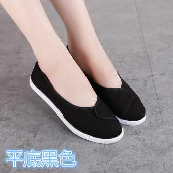 White white flat beauty division work shoes nurse shoes (With flat black)