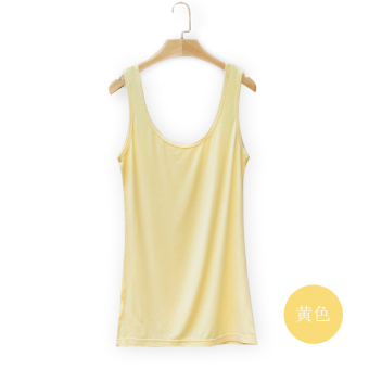 Wild modal female spring and summer bottoming shirt vest (Light yellow)
