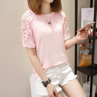 Wild white female New style T-shirt short-sleeved Top (557 (pink))