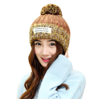 Women Crochet Knit Winter Warm Beanie Wool Peaked Hat Mix Color CapOrange