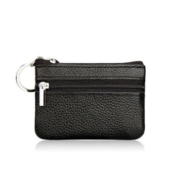 Women Leather Small Coin Card Key Ring Wallet Pouch Mini PurseBlack - intl
