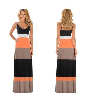 Women summer cotton dress boho long Maxi evening party dress   Orange