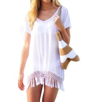 Women Tassels Bathing Suit Bikini Swimwear Beach Dress Tops(White) - intl